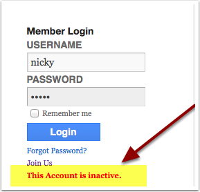 Your login will fail if your account shows as INACTIVE