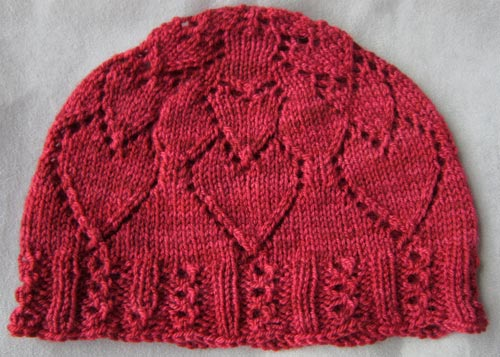 Knit Hat Pattern With Heart : Hats & Cowls e-Patterns Knit HeartStrings Learn-and-Knit ...