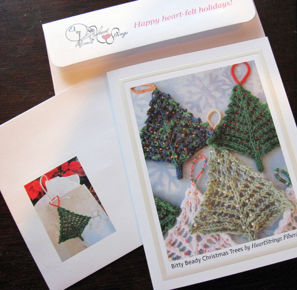 Bitty Beady Christmas Trees greeting card and matching envelope