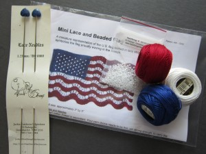 Mini Lace and Beaded Flag Kit with Gemstone Heart Lace Knitting Needles