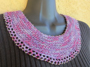 Beaded Crescent Neck Lace worn as a yoke necklace