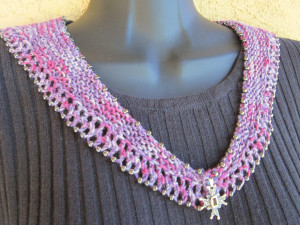 Beaded Crescent Neck Lace worn pinned at front