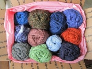 Getting the November Giveaway big assortment of Dale yarn ready to ship to the winner