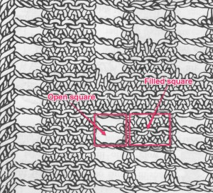 taken from filet lace schematic from Mary Thomas' Book of Knitting Patterns, page 267; annotated by Jackie E-S