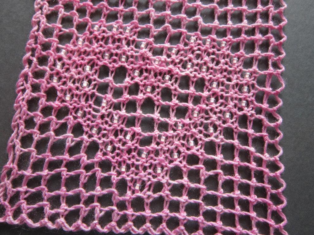 Beaded Filet Lace Heart - reverse side