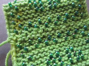 Grafting completed for invisible seam in garter stitch
