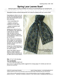 Narrow Spring Lace Leaves Scarf pattern sample cover page
