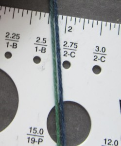 Using 2 side-by-side strands of yarn to estimate standard knitting needle size