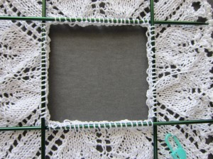 arranged on 4 double point needles closeup