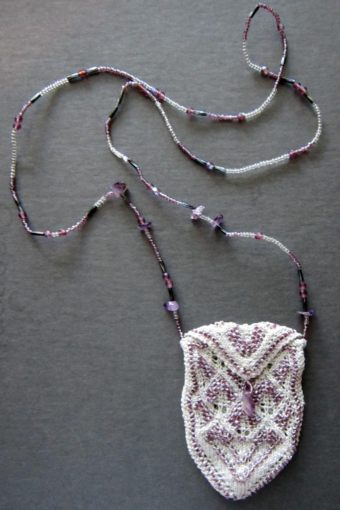 Lorna's Light necklace purse with chain of various types of beads, crystals, and semi-precious gemstones