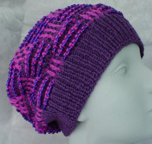 Beaded Basket Weave Mosaic Hat - front view