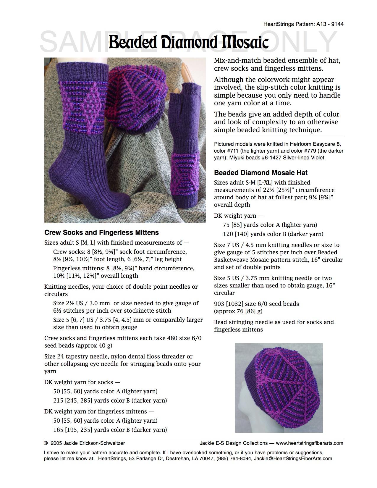 Bits of beads e patterns knit heartstrings learn and knit alongs beaded diamond mosaic ensemble e pattern bankloansurffo Gallery
